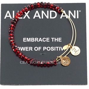 Alex And Ani Scarlet red Luminary Beaded Bangle